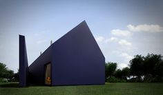 This stealthy matte-black home in Poland is clad in Thermopian, an insulating plastic typically used for roofing. The house, which features a distinctive exterior wall that mimics an open door, is the work of Moomoo Architects. Architecture Journal, Space Architecture, Architecture Details, Interesting Buildings, Beautiful Buildings, Rendered Houses, Decoration Shop, Decor Home Living Room, Home Decor
