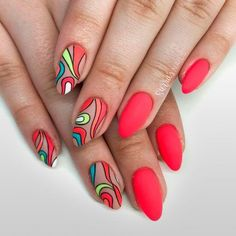 36 Swimming Pool Summer Nail Art Ideas That Will Cheer You Up - Bright Abstracted Matte Nails ★ The newest summer nail art trends are featured in our photo gallery. You should definitely check it out in case you are out of ideas. Edgy Nails, Funky Nails, Matte Nails, Swag Nails, Gel Nails, Nail Design Stiletto, Nail Design Glitter, Glitter Nails, Stiletto Nails