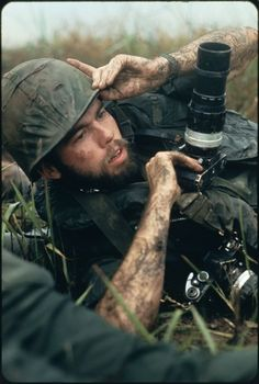 Pulitzer Prize winning photographer David Hume Kennerly under fire near Chon Thanh, South Vietnam, in 1972.