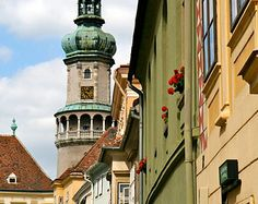 Hungary Photography - Sopron Photograph -  Hungarian Architecture - Colorful Wall Art Print - Travel Photo Red Yellow Green Home Decor
