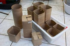 Toilet Paper Roll Pots - the square shape is much more practical   ************************************************  joeysplanting via Flickr #garden #starting #seed