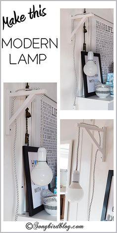 Make this modern, but easy, homemade wall lamp. Instructions on songbirdblog.com