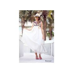 White Sleeveless Embroidery Pleated Chiffon Dress -SheIn(Sheinside) via Polyvore