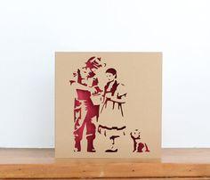 Banksy inspired papercut greetings card