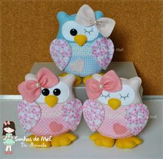 *FELT ART ~ Dreams Honey 'ੴ - Crafts in felt and fabric: oo Several Corujinhas . Owl Crafts, Easy Crafts, Diy And Crafts, Crafts For Kids, Arts And Crafts, Fabric Crafts, Sewing Crafts, Craft Projects, Sewing Projects