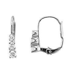 Save $315.01 on 10k White Gold 3 Stone Hoop Huggies Diamond Earrings (GH, I1-I2, 0.22 carat); only $149.99