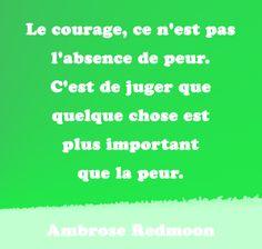 Le courage, ce n'est pas l'absence de peur. C'est de juger que quelque chose est plus important que la peur.