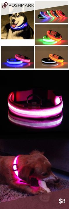 Dog LED Glow collar Pet LED Glow Dog Collar  Brand New Material: Nylon Durable and adjustable with buckle,easy to wear and remove. 3 lighting modes: Constant on, strobe and Flashing (with switch to select) LED powered by 2 pcs CR2032 cell button(included). Accessories