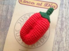 £8.00 Crocheted cotton brooch, red pepper - from Fair Trade artisans in Lima, Peru.