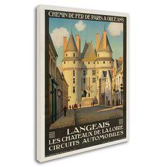 Les Chateaux de la Langeais Vintage Advertisement on Wrapped Canvas