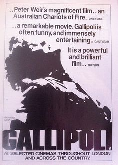 Peter Weir's Gallipoli Movie Newspaper ads Peter Weir, Chariots Of Fire, Film Releases, Tv Series, Movies, Films, Cinema, Ads, Newspaper