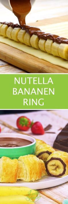 on fingers Der Nutella-Bananen-Ring fliegt mit doppelter Schokodröhnung auf den Teller. Nutella Snacks, Nutella Recipes, Party Finger Foods, Fall Desserts, Ice Cream Recipes, Smoothie Recipes, Love Food, Sweet Recipes, Brunch Recipes