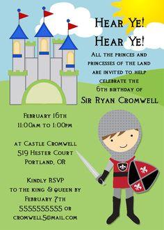 Knight Birthday Invitation -- Printable Digital File. $15.00, via Etsy.