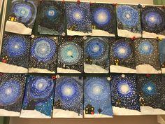 one lesson winter art – art lessons – eine Lektion Winterkunst – Kunstunterricht – Christmas Art Projects, Winter Art Projects, Kids Name Art, Art For Kids, Kid Art, Classroom Art Projects, Art Classroom, Canvas Painting Tutorials, Scratch Art
