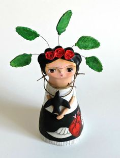 Frida Maya SO SOPHIE mixed media art doll, inspired by Frida Kahlo's painting Self-portrait with thorn necklace and hummingbird.