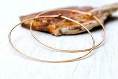 Thin Gold Hoop Earrings Simple endless hoops by HouseofStonez, $12.00
