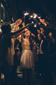 Sparkler wedding exit. Photo: Christy Cassano-Meyer
