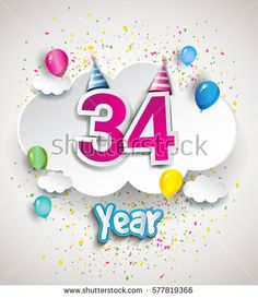 34th Anniversary Celebration Design, with clouds and balloons, confetti. Vector template elements for your, thirty four years birthday celebration party.