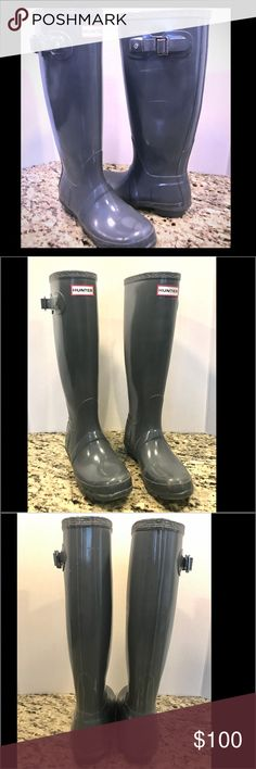 """Tall Grey Hunter Boots Tall Grey Hunter Boots.  Original Gloss Tall 23616 grey.  16"""" tall. 14.5"""" calf circumference.   EUC.  Minor scuffing, but not bad.  Please feel free to ask any questions! Hunter Boots Shoes Winter & Rain Boots"""