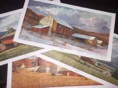 Eric Sloane Print Litho Lot 4 Seasons Winter Spring Fall Nostalgic Summer 26x14 #Vintage