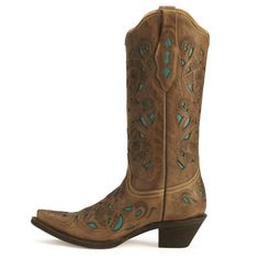 Corral Turquoise Leather Inlay Cowgirl Boots - Sheplers