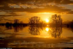 Beauty and the beast: A stunning sun set reflected in flood water surrounding the village of Moorland in Somerset which has devastated by re...