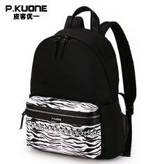 P.KUONE Brand Design Zebra Pattern Backpack Women Travel Back Pack Bag  Feminine School Backpack 44b9748833805