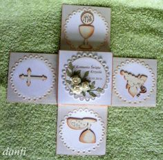 - First Communion Cards, Exploding Box Card, Pop Box, Card Making Templates, Magic Box, Tatty Teddy, Silhouette Projects, Diy Cards, Party Time