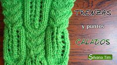 Combinación de TRENZAS y PUNTOS CALADOS. Tejido con dos agujas # 89 Loom Knitting Patterns, Knitting Videos, Knitting Stitches, Knitting Designs, Stitch Patterns, Filet Crochet, Knit Crochet, Celtic, V Stitch