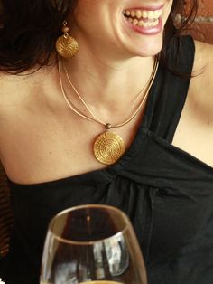 Golden Grass Necklace - Eco Fashion Jewelry!