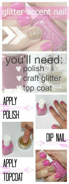 easiest accent nail // how to glitter nail via #blushingbasics