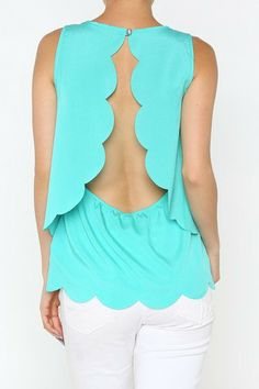 Scalloped Open Back Top - Mint