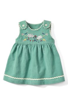shipping and returns on Mini Boden Farmyard Friends Corduroy Dress (Baby Girls & Toddler Girls) at . Rickrack trim and an embroidered farmyard scene make this corduroy dress a delightful option for any occasion. Baby Girl Dress Patterns, Little Girl Dresses, Dresses For Babies, Boden Girls Dresses, Girls Summer Outfits, Girl Outfits, New Baby Dress, Dress Girl, Toddler Dress