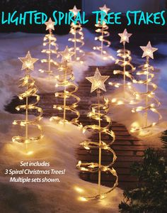 christmas outdoor decorations lighted spiral tree stakes use several sets to make a unique - Spiral Lighted Christmas Tree