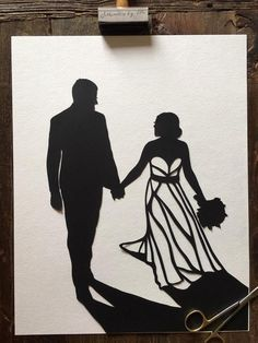 11 by Personalized Wedding Silhouette Art - First Anniversary Paper Gift Wedding Silhouette, Black Silhouette, First Anniversary Paper, Wedding Photos, Wedding Day, Glue Crafts, Subtle Textures, Pop Up Cards, Photo Look