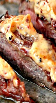 Marinated Flank Steak grilled to perfection, then topped with Homemade Chipotle Butter! This recipes is stellar! Flank Steak Recipes, Grilled Steak Recipes, Grilling Recipes, Pork Recipes, Mexican Food Recipes, Cooking Recipes, Grilled Steaks, Beef Flank, Vegetarian Grilling