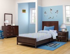 Leo Bedroom in a Box Twin Bed Furniture Set - Walnut - Comes with ...