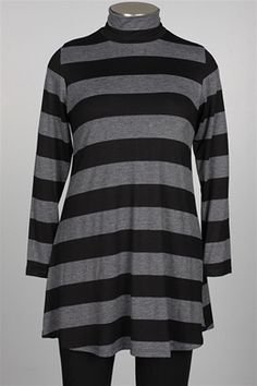 Comfy USA - Mock Tunic - Black & Blue Stripe $84