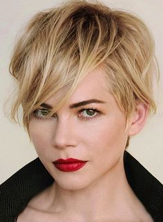pixie cut, pixie haircut, cropped pixie - Michelle Williams long pixie hairstyle