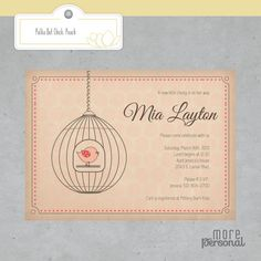 Custom Color Polka Dot Chick In a Bird Cage Invitation / Baby Shower / Girl / Printable/ Coral / Peach