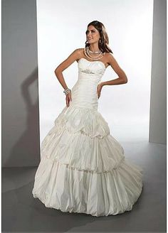 Glamourous Taffeta Strapless Neckline 2 In 1 Wedding Dresses With Beads