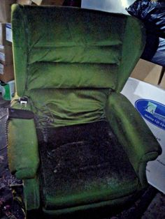Green Electric Recliner Armchair. Remote control included. Upcycle me. Mobility.