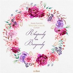 Watercolor Burgundy Wreath & Bouquets with Floral elements Peonies and Roses. Boho style, Individual PNG files. Wedding Invitations Clipart