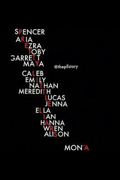 Spencer Aria Ezra Toby Garrett Maya Caleb Emily Nathan Meredith Lucas Jenna Ella Ian Hanna Wren Allison & Mona are the Name in Pretty Little Liar Title