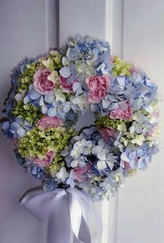Hydrangeas and Roses wreath