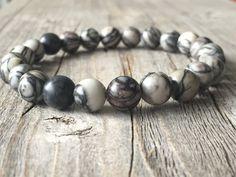 Men gemstone earthy bracelet stretch stacking door KennlyDesign