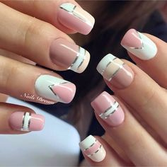 103 cute and natural short square nails design ideas for summer nails page 20 Pretty Nail Art, Cute Nail Art, Beautiful Nail Art, Cute Nails, Square Nail Designs, Nail Art Designs, Silver Nails, Pink Nails, Stylish Nails