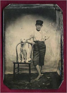 Vintage Doggy: A Boy and His Dog portrait.