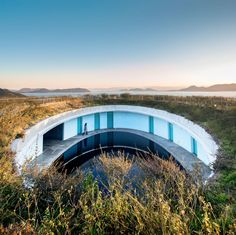 The Oval, one of the guest room buildings of the Benesse House by Tadao Ando (1995) in Naoshima Island, Japan.  photo by Darren Bradley.  http://instagram.com/p/vI3BLiMbC_/