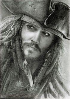Jack Sparrow, Johnny Depp, Pirates of the Caribbeans Jack Sparrow Dibujo, Jack Sparrow Drawing, Sparrow Art, Portrait Au Crayon, Pencil Portrait, Captain Jack, Jack Sparrow Savvy, Fake Tattoo, Realistic Pencil Drawings
